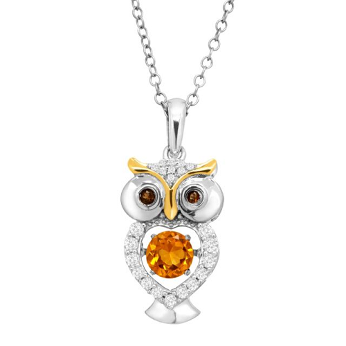 $18.99 (was $129) White Sapphire Owl Floater Pendant in Sterling Silver