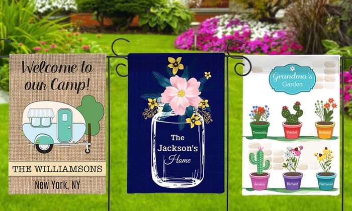$5 (was $24.99) Personalized Garden Flags