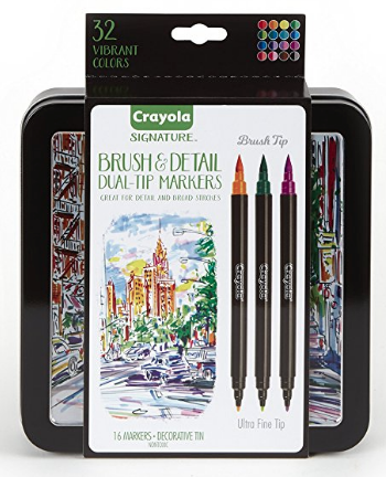 LOWEST PRICE: Crayola Brush & Detail Dual Tip Markers