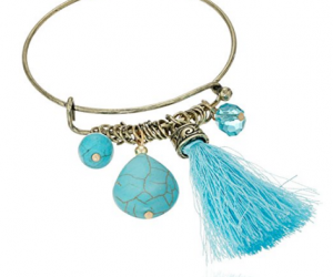 Cara Wire Bangle with Tassel Turquoise Charm Bracelet: $3.06 (was $3.22)