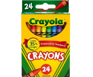 $0.50 (was $2.69) Crayola Crayon Box, Assorted Colors, Pack Of 24