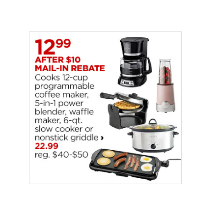 $12.99 (was $40) Select Small Kitchen Appliances