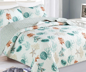 Starting at $24.99 (was $55.59+) Coastal Theme Printed Quilt Set (3-Piece)