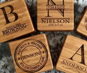 $11.99 (was $19.99) Personalized Bamboo Coasters