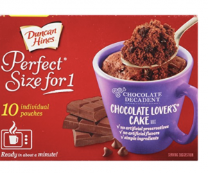Duncan Hines Perfect Size for 1 Mug Cake Mix, Ready in About a Minute, Chocolate Lover's Cake, 10 Individual Pouches: $5.48 (was$13.84)