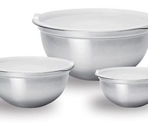 6 Piece Stainless Steel Bowl Set with Plastic Lids, Silver: $11.92 (was$28.51)