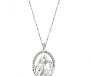 Sterling Silver Family Oval Shape Pendant Necklace: $12.98 (was$33.32)