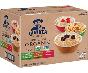 Quaker Organic Instant Oatmeal, Variety Pack, 32ct: $9.09 (was$16.99)