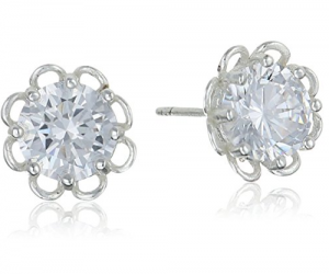 Sterling Silver and Cubic Zirconia Flower Stud Earrings: $5.06 (was $12.30)