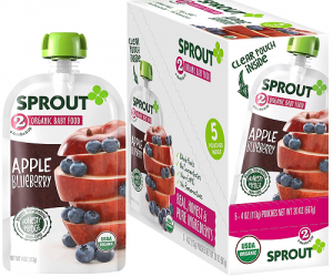 Sprout Organic Stage 2 Baby Food Pouches, Apple Blueberry, 4 Ounce (Pack of 5): $3.97 (was $7.95)