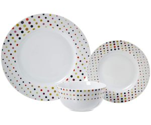 AmazonBasics 18-Piece Dinnerware Set – Dots, Service for 6: $19.99 (was $39.99)