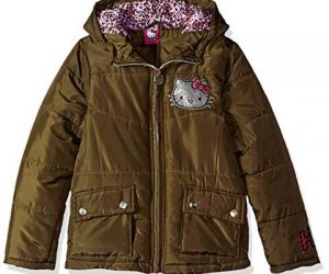Hello Kitty Baby Girls Hooded Puffer Jacket, Olive 24 Months: $5.89 (was $36.05)