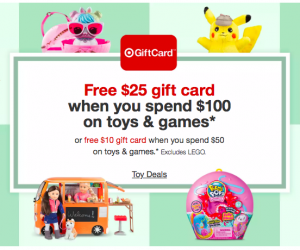 Target Shoppers: Save $10/$50 or $25/$100 on Toys This Week!