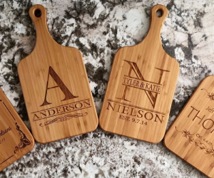 $12.99 (was $39.99) Personalized Bamboo Serving Boards