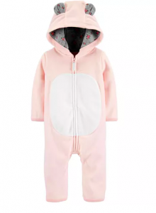 Carter's Baby Girls Hooded Fleece Bear Coverall